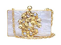 Stone Studded Fashion Handbag Cum Clutch