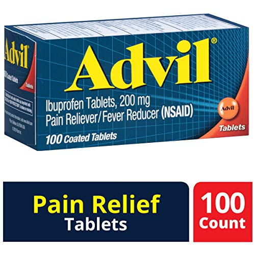 Advil (100 Count) Pain Reliever / Fever Reducer Coated Tablet, 200mg Ibuprofen, Temporary Pain - Advil Tablets