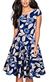 HOMEYEE Women's 1950s Vintage Elegant Cap Sleeve Swing Party Dress A009 (S, Blue)