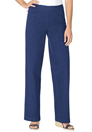 Women's Plus Size Tall Wideleg Pull On Denim at Amazon Women's ...