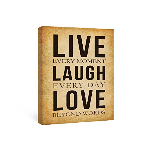 SUMGAR Canvas Wall Art Quotes Paintings for Living Room Framed Prints Inspirational Words Live Laugh Love Valentines Day Gifts,12x16