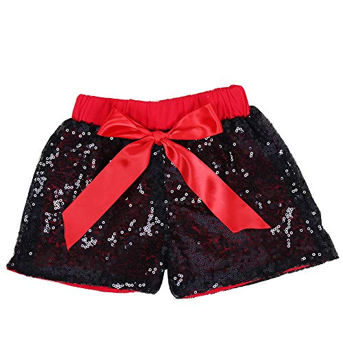 Cilucu Baby Girls Sequin Shorts Toddlers Sparkle Short Pants Kids Birthday Shorts Glitter on Both Sides Black Red 3t -