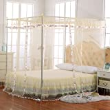 King Size Four Poster Bed JQWUPUP Luxury Mosquito Net Bed Canopy by 4 Corner Poster Princess Lace Netting Bedding For Girls, Toddlers & Adults - Bedroom Decor Block Insects (King Size, Beige)