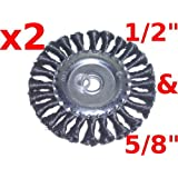 """Canadian Tool and Supply (lot of 2) 5"""" Knot Wire Wheel Brush fits 1/2-Inch & 5/8-Inch Arbours(2xKWWB-5)"""