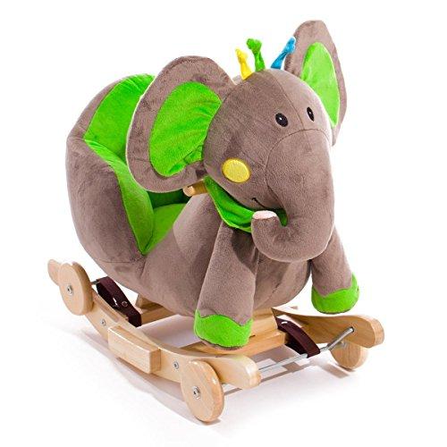 KinderKraft Schaukeltier Wippe Schaukelpferd aus Holz Elefant, Grün
