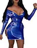 Papijam Womens Classic Metallic Off Shoulder Club Bodycon Slit Dresses Jewelry Blue M