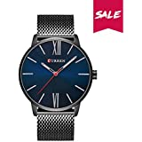 CURREN Men Watches Quartz Ultra thin Dial Luxury Business Waterproof Stainless Steel Mesh Band Watch The Best Gift for men 8238 …