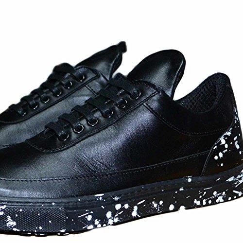 Sneakers bassa uomo pelle nero fill fondo e fortino schizzato bianco limited edition vera pelle made in italy lavorazione artigianale