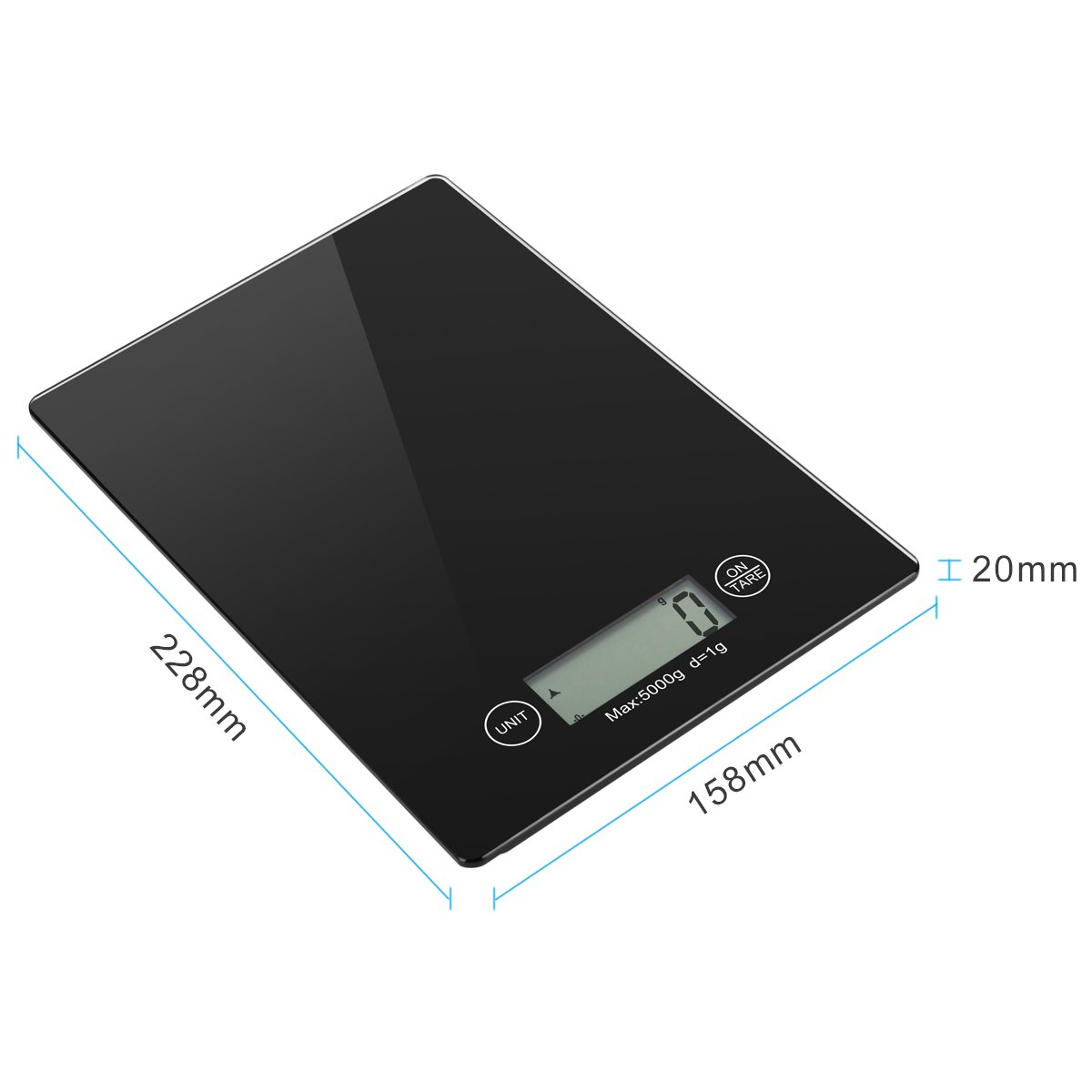 Vellepro Digital Kitchen Scale with 4 Units,Large LCD Display, Auto Off,Tare Function,Multifunction Food Scale with Water-Resistant Tempered Glass Surface,Touch Sensitive Button(Batteries Included)