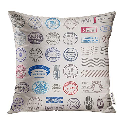 VANMI Throw Pillow Cover Travel of 39 Vintage Postage Stamps from Countries All Over The World Post Postal Decorative Pillow Case Home Decor Square 16x16 Inches Pillowcase -