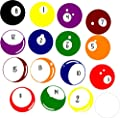 Billiard Balls Wall Decal Stickers, Pool Room, Game Room, 7 to 10 in 16 Total, Multi-colored, Walls with Style,