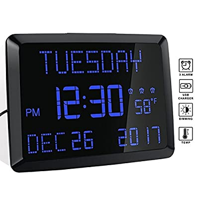 "Wall Clock, 11.5"" Extra Large Display LED Digital Desk & Wall Calendar Alarm Day Clock with Date and Time, Battery Backup & 3 Alarms - Perfect for Elderly, Impaired Vision, Seniors, Home and Kitchen"