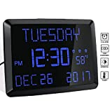 Digital Alarm Clock, 11.5'' Extra Large Display LED Digital Desk & Wall Calendar Alarm Day Clock with Date and Time, Battery Backup & 3 Alarms - Perfect for Elderly, Impaired Vision, Seniors, Home