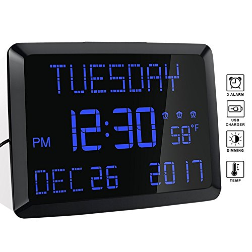 Digital Alarm Clock, 11.5 Extra Large Display LED Digital Desk & Wall Calendar Alarm Day Clock with Date and Time, Battery Backup & 3 Alarms - Perfect for Elderly, Impaired Vision, Seniors, Home