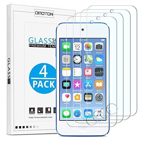 OMOTON [4 Pack] Tempered Glass Screen Protector for New iPod Touch (7th Gen 2019 Release / 6th & 5th Gen) ()