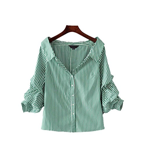 zsdfase Gathered Sleeve Blouse Low Cut Turn Down Collar Elegant Female Casual Brand Tops Blusas as Picture L ()