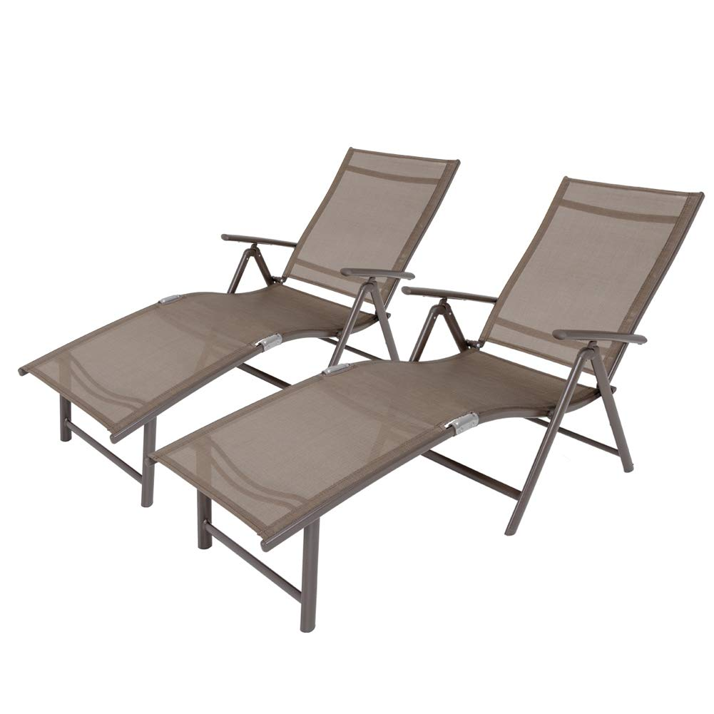 Crestlive Products Aluminum Beach Yard Pool Folding Recliner Adjustable Chaise Lounge Chair All Weather for Outdoor Indoor, Brown Frame (2 PCS Brown & Black)