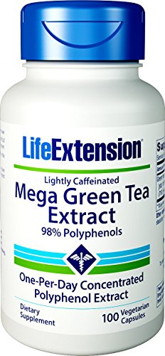 Life Extension Mega Green Tea Extract (Lightly Caffeinated) 98% Polyphenols, 100 Vegetarian Capsules ()