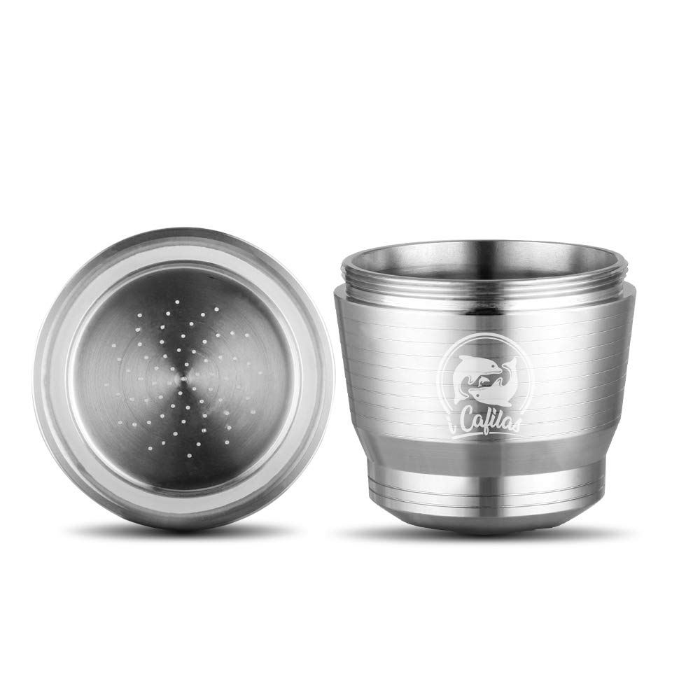 Sunsbell Capsule Riutilizzabili Nespresso Capsule Ricaricabili per Macchine Nespresso Silver Lid Ultima Generazione Acciaio Inossidabile