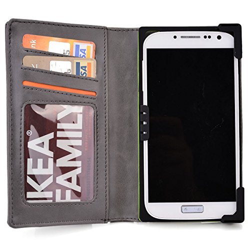 KroO Davy's Grey Unisex BiFold Wallet for Alcatel One Touch Idol Alpha, Idol S, Idol 3 4.7, One Touch mini Smartphone