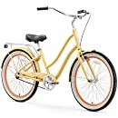 "sixthreezero EVRYjourney Women's Single Speed Step-Through Hybrid Cruiser Bicycle, Cream w/Black Seat/Grips, 26"" Wheels/ 17.5"" Frame"