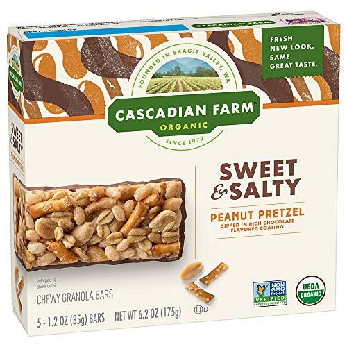 - Cascadian Farm Organic Sweet and Salty Chewy Granola Bar Peanut Pretzel 5 - 1.2 oz Bars
