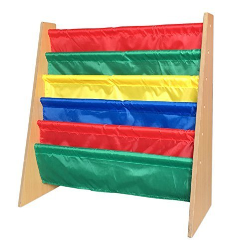 EWEI'S HomeWares 28x28x11-Inch Lagre Kids Toy Sling Book Rack Display Shelf Organizer Children Bookshelf, Primary Colors