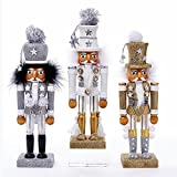 10.5''HOLLY WOOD SOLDIER NUTCRACKER 3/ASSTD COLORS: WHITE, GOLD & SILVER.