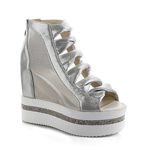 AllhqFashion Women's Solid PU High Heels Peep Toe Zipper Sandals Silver BTRmNi