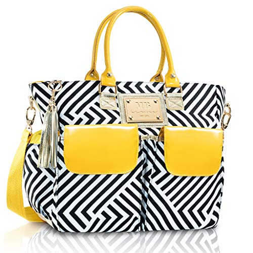 Designer Diaper Bag by MB Krauss – Large Women's Diapering Tote with Multiple Pockets, Luxurious Design – Every Day Comfort for The Fashionable Woman (Classic Tote) (Yellow)