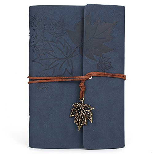 Leather Writing Journal Notebook, MALEDEN Classic Spiral Bound Notebook Refillable Diary Sketchbook Gifts with Unlined Travel Journals to Write in for Girls and -