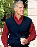 Port Authority Signature Men's Big Fine-Gauge V-Neck Sweater Vest - Navy - Small