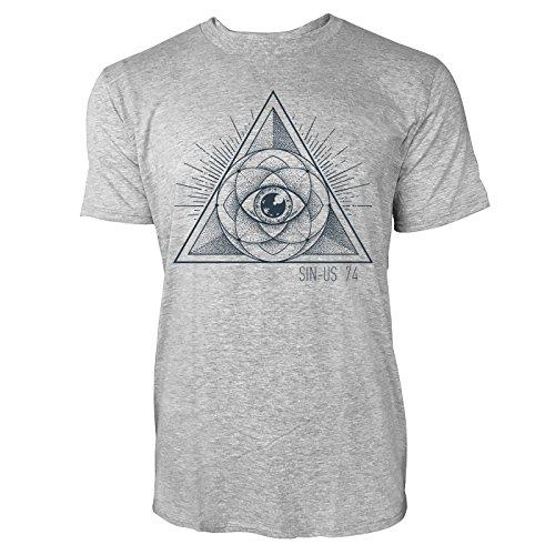 SINUS ART ® Geometrisches Design mit Dreieck und Auge Herren T-Shirts in hellgrau Fun Shirt mit tollen Aufdruck