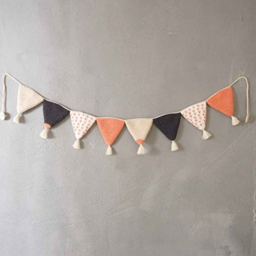 Handmade Cotton Wall Hanging Triangle Flag Children Bedroom Furniture Decorative Wall Art Baby Gift (Mixed color 2)