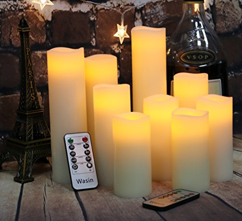 Flameless Candles Battery Operated Candles 4'' 5'' 6'' 7'' 8'' 9'' Set of 9 Ivory Real Wax Pillar LED Candles with 10-key Remote and Cycling 24 Hours Timer by Wasin