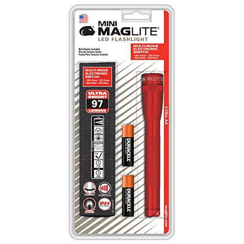 Maglite Mini LED 2-Cell AA Flashlight with Holster, Red (Flashlight Red Cell)