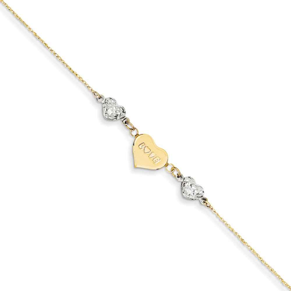 Black Bow Jewelry 14k Two-Tone Gold Diamond-Cut Puffed and Love Heart Anklet, 9 Inch