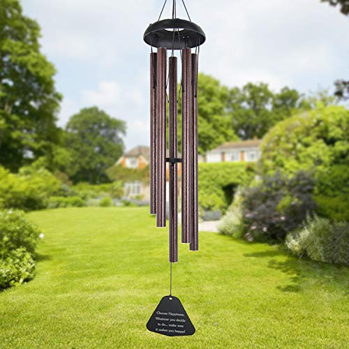 Sympathy Wind Chimes Outdoor Large Deep Tone,36' Large Wind Chimes Outdoor Tuned Relaxing Melody,Memorial Windchime Amazing Grace Personalized for Garden Decor, Bronze(A Free Card)