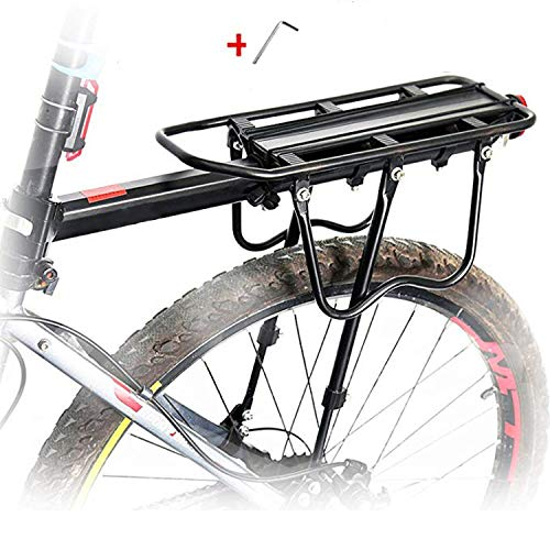 Rhinowalk Bike Cargo Rack 110 Lbs Capacity Aluminium Adjustable Bike Luggage Cargo Rack with Reflective Logo Professional Bicycle Accessories Easy to Install