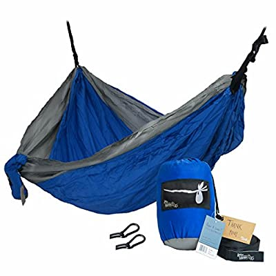 Hobo Hammocks Portable Double Camping Hammock (Webbing Straps And Carabiners Included For Hanging) Parachute Nylon
