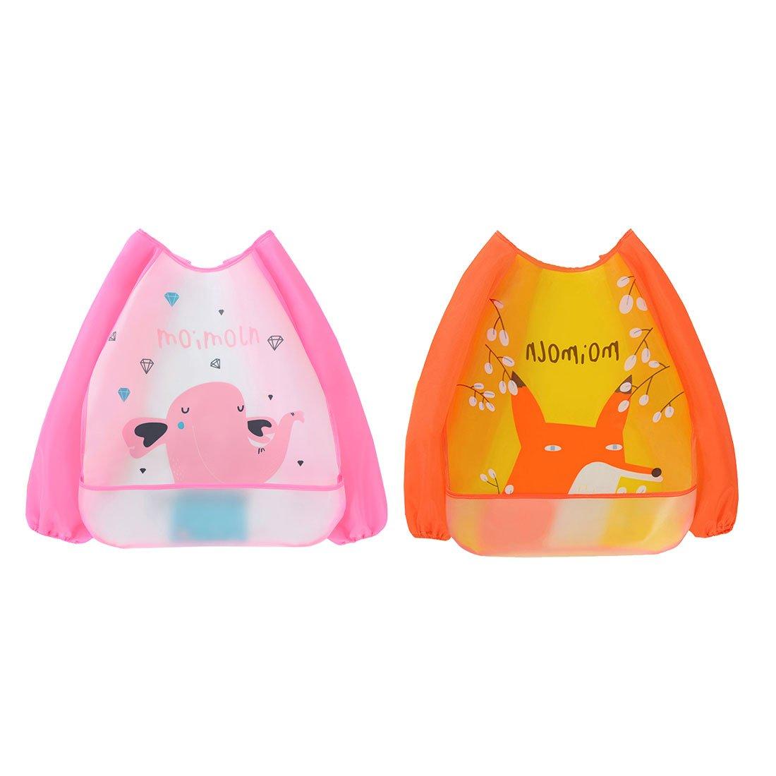 Irypulse 2er Pack Waterproof Fütterung Lätzchen Malerei Schürze, Langarm Waschbar Essen und Spielen Kittel mit Fronttasche für Verschüttetheiten, Unisex EVA Sleeved Overall für 0-3 Jahre Baby Infant Toddler (A)