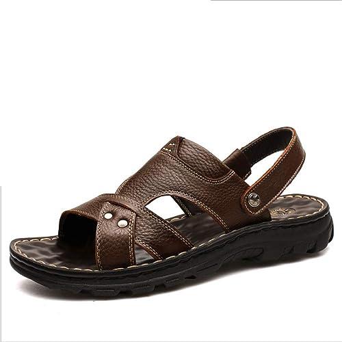 Zapatillas Sandalias De Verano De Cuero Al Aire Libre para Hombres Cómodos Zapatos De Playa Sandalias Negras Transpirables (24.0-27.0) CM Zapatos de Playa: ...