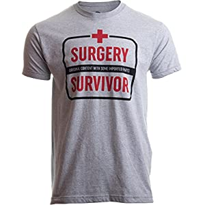 Surgery Survivor: Original Content, Imported Parts | Funny Patient Humor T-Shirt-(Adult,XL) Grey