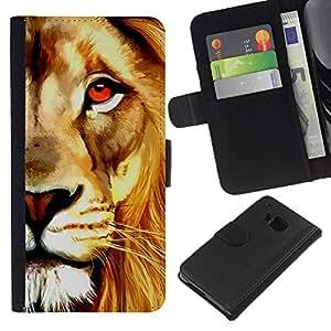 KingStore / Leather Etui en cuir / HTC One M9 / Pintura de la acuarela del arte del león de Orange