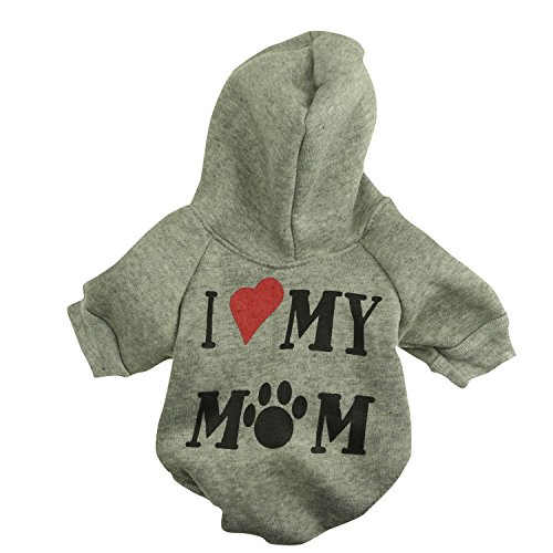 Pet Clothes,Dog Hoodie Clothes Pet Apparel Custumes Puppy Cotton Outfit Clothing for Small Dog,I Love My Mommy Printed,Grey Color,Medium Size (Outfit For Dogs)