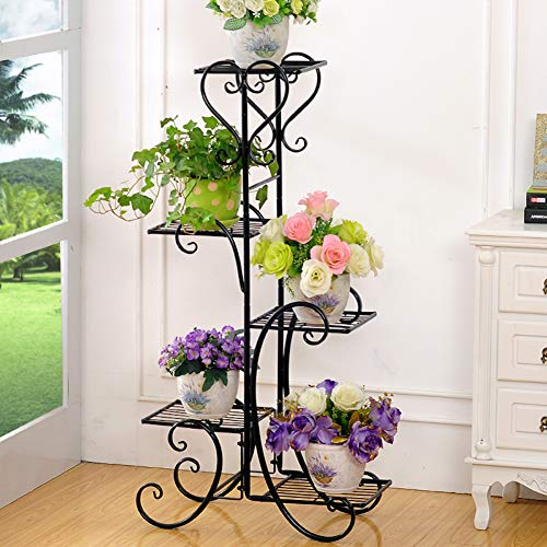 Plant Stand Metal Flower Holder Pot with 5 Tier Garden Decoration Display Wrought Iron 5 Layers Planter Rack Shelf Organizer for Garden Home Office Black (5layer)