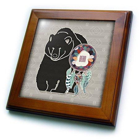 3dRose Native American Zodiac for August 22 to September 21 Brown Bear-Framed Tile, 8 by 8