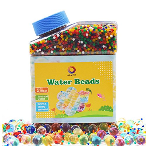 Jangostor Water Gel Beads 9OZ (Almost 40,000pcs) Water Jelly Pearls Rainbow Mix for Kids Sensory Playing, Wedding Home Decoration,Plants Vase Filler Sold by ()