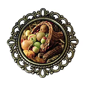 Chicforest Ancient Style Thanksgiving Horn Of Plenty Flower Pin Brooch