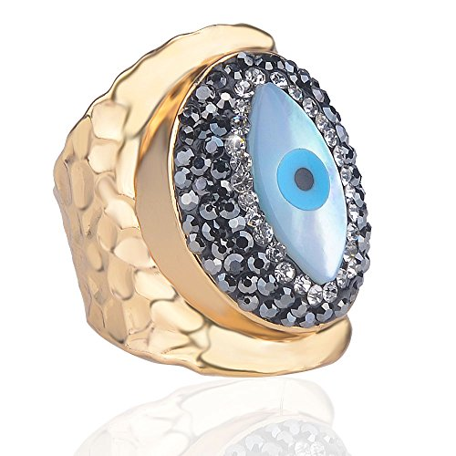 Jeka Evil Eye Rings for Women Girls Elegant Cuff Jewelry 18K Gold Plated Aniversary Religious Good Luck Protection Gift
